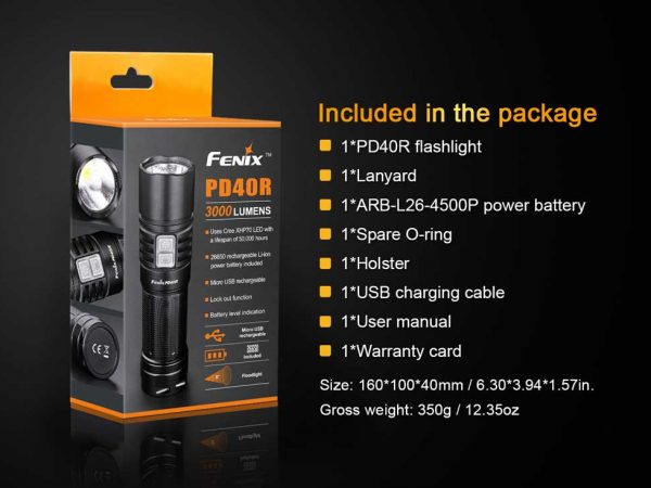 Fenix-PD40R-Flashlight-Included-package